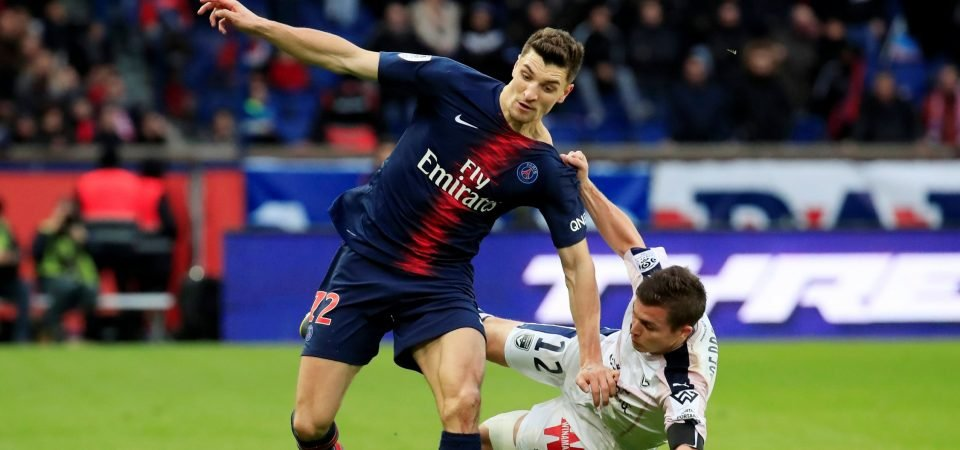 Arsenal target Thomas Meunier shows his tackling ability in photo with Mesut Ozil