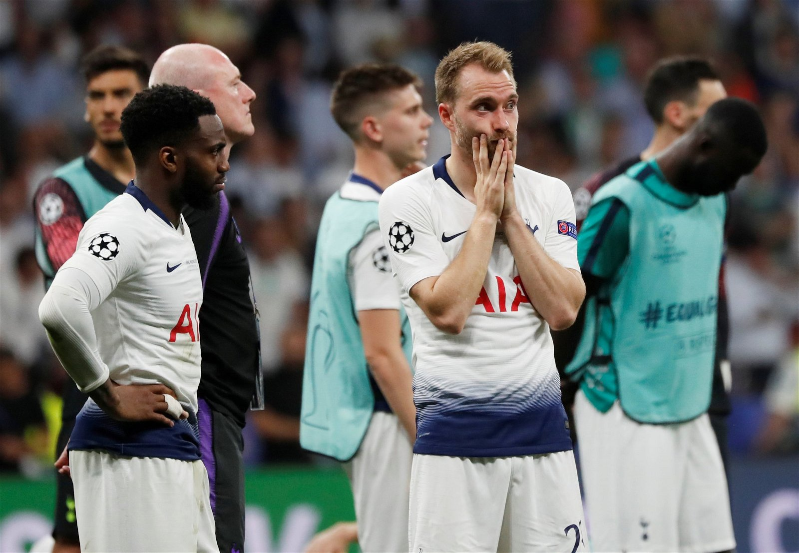 Christian Eriksen looks dejected after Tottenham Hotspur defeat