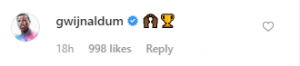 wijnaldum comment 300x66 - Wijnaldum sends short and sweet message to Shaqiri on Instagram