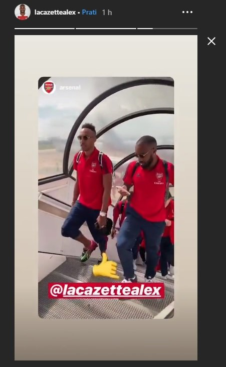 1 21 - Lacazette shares Instagram story with Aubameyang as Arsenal jet off to the States
