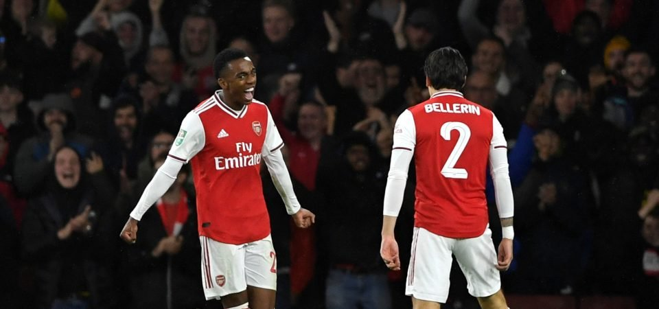 Arsenal fans want Joe Willock to start against Manchester United