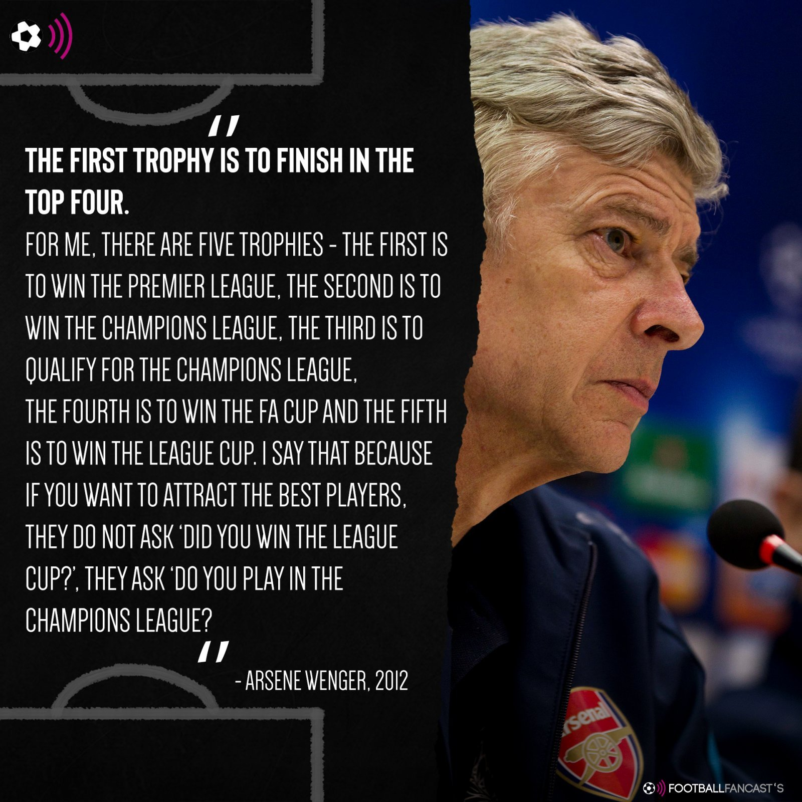 Arsene Wenger quote from 2012
