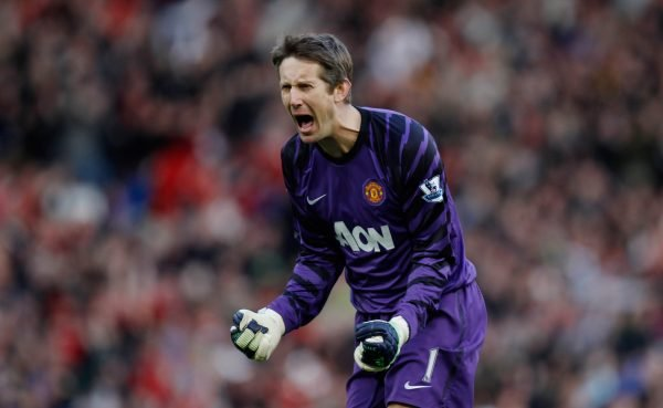 Edwin van der Sar celebrating after Manchester United score against Bolton