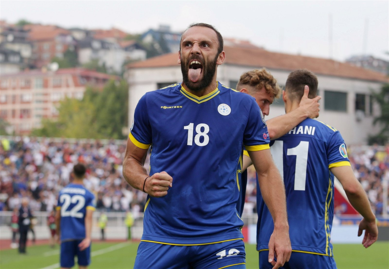 Vedat Muriqi celebrating after scoring for Kosovo against Czech Republic - [Roundup] PL trio being monitored, Spurs scouting mission, Defender happy to stay
