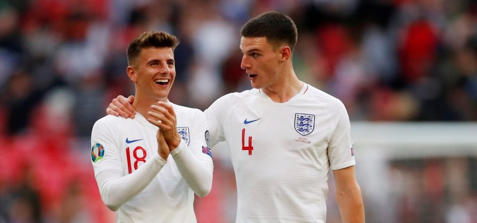West Ham United's Declan Rice posts photo finish alongside Mason Mount