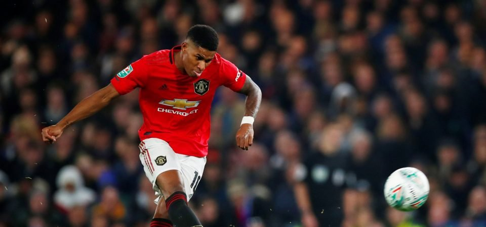Manchester United players Lindelof and James react to Marcus Rashford's free-kick
