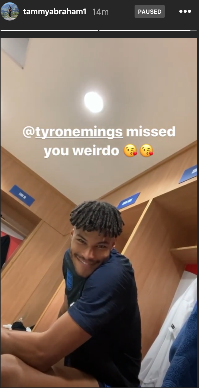 Screenshot 2019 10 09 at 13.27.27 - Tammy Abraham and Tyrone Mings show how much they've missed each other