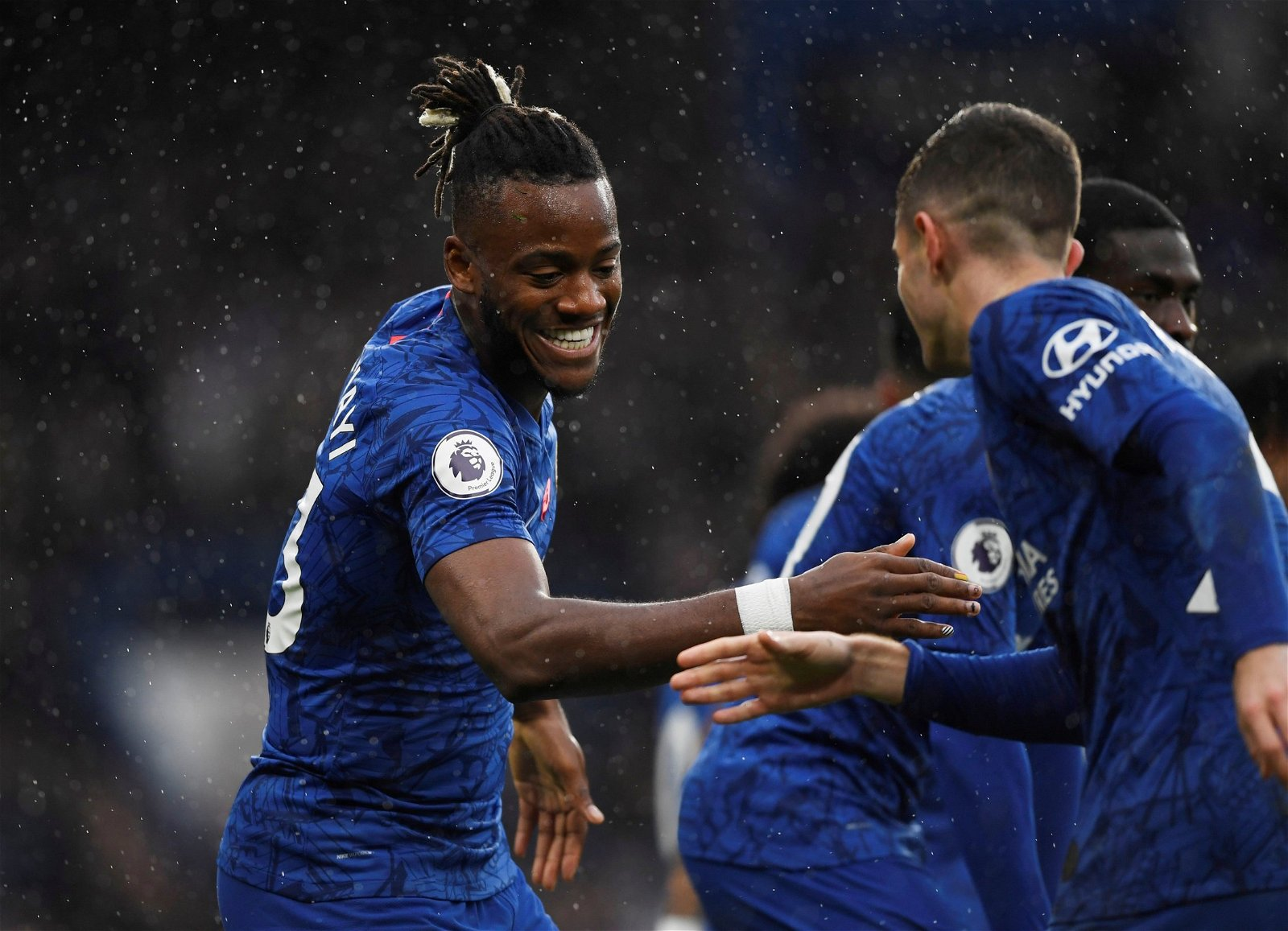 Chelsea's Christian Pulisic celebrates scoring their second goal with Michy Batshuayi