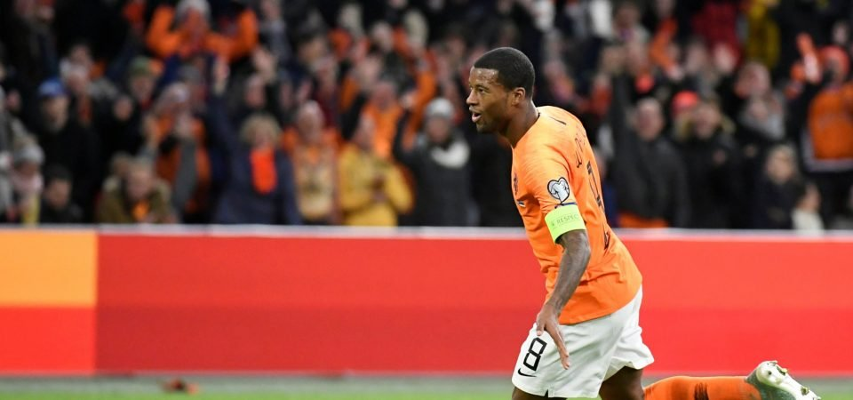 Liverpool's Georginio Wijnaldum displays his offensive ability for the Netherlands
