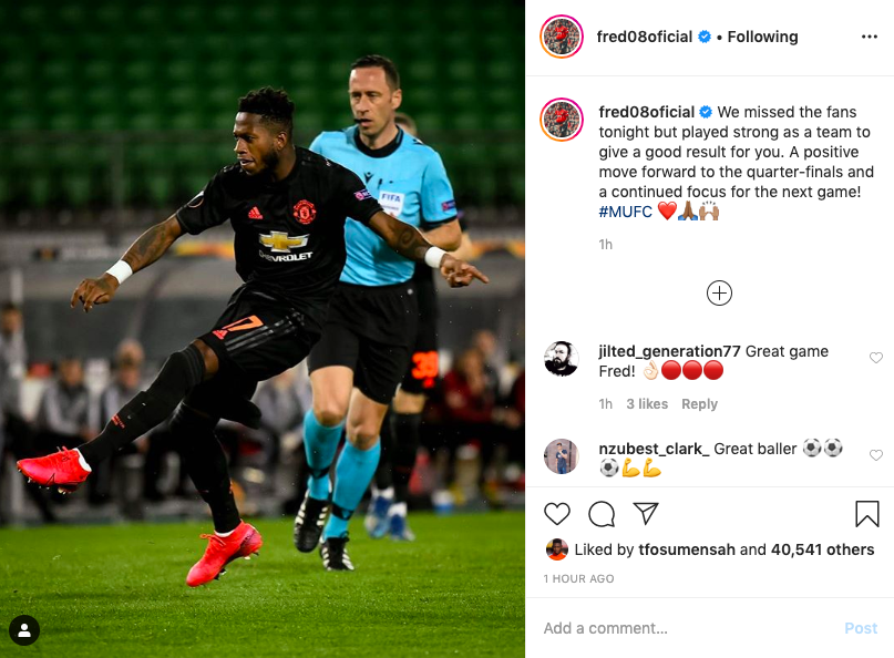 Fred Instagram post - Juan Mata praises Fred with three-word Instagram message after convincing United win