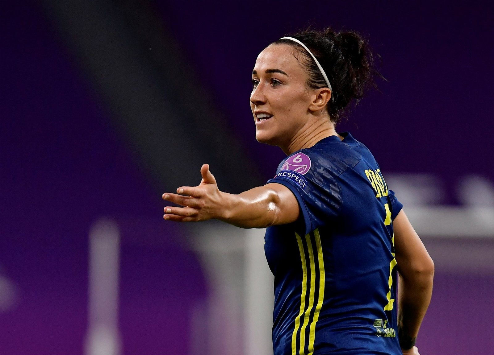Lucy Bronze in action for Lyon during UWCL quarter final - 'What the women's game deserves' – Karen Carney discusses upcoming Wolfsburg v Lyon UWCL final