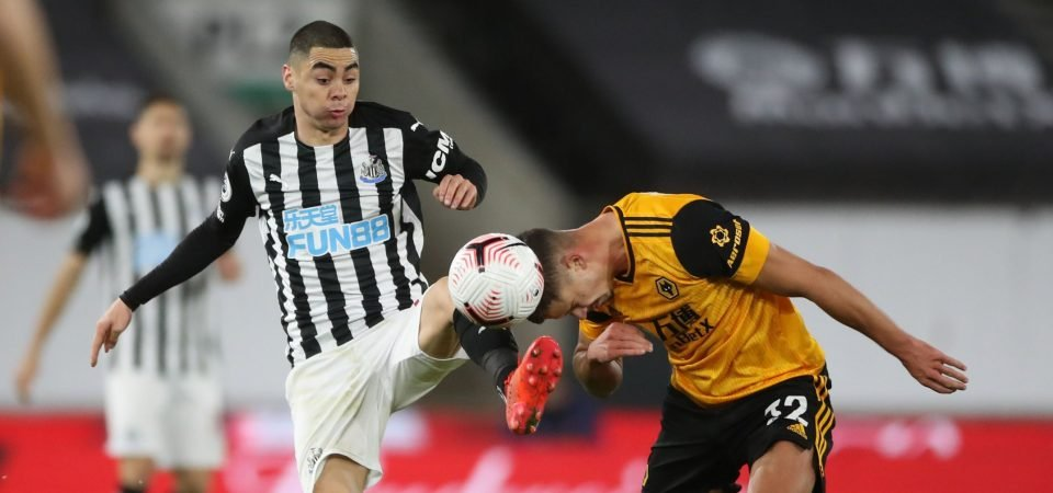 Newcastle's Miguel Almiron had a disaster against Wolves