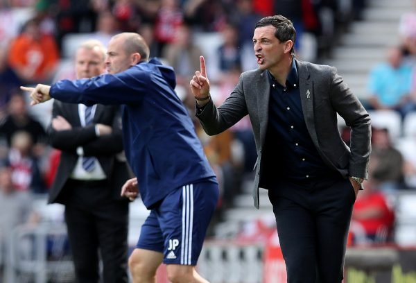 Sunderland's manager Jack Ross gestures during the Portsmouth match, August 2018