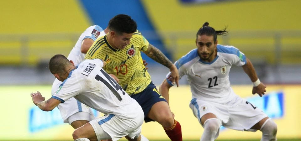James Rodriguez: Everton star lacks usual magic for Colombia in Uruguay defeat