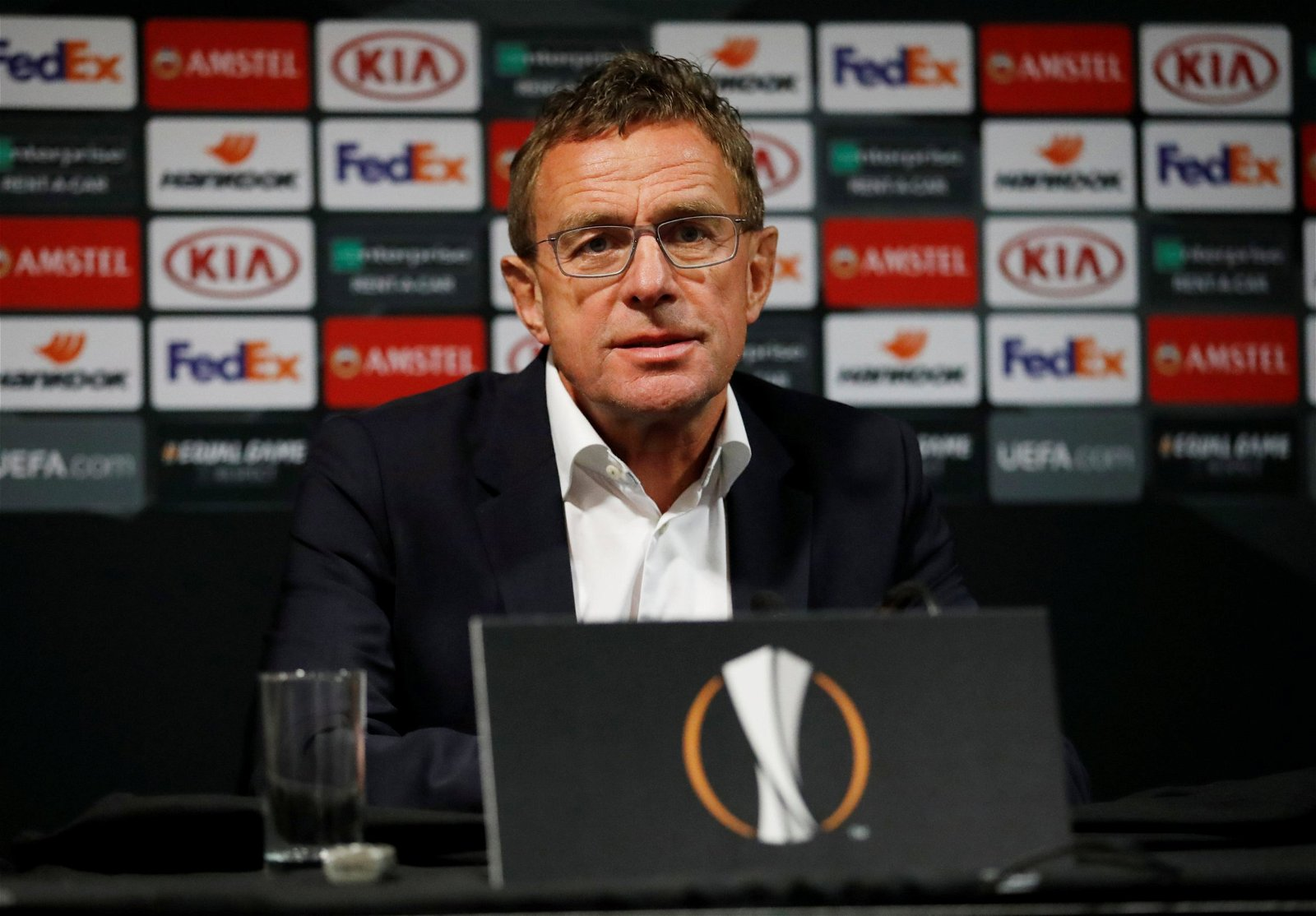 former rb leipzig manager ralf rangnick press conference europa league.